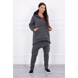 Ženski komplet z baggy hlačami, temno siv