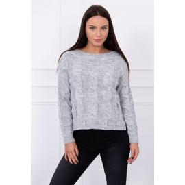 Ženski pulover z daljšim hrbtnim delom S7361, siva