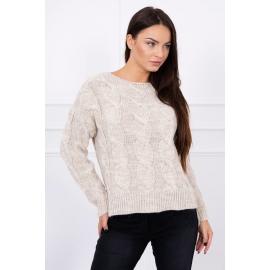 Ženski pulover z daljšim hrbtnim delom S7361, svetlo bež