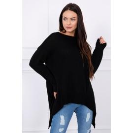Ženski asimetričen pulover S7871, črn