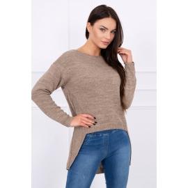 Ženski pleten asimetričen pulover S7101, bež