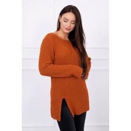 Ženski pleten pulover z režo na sprednji strani S7603, rjav