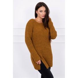Ženski pleten pulover z režo na sprednji strani S7603, moro
