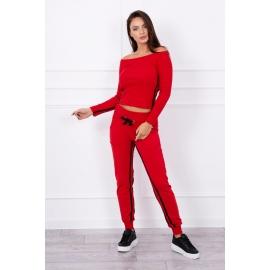 Ženski komplet z dvojno črto 8958, rdeč