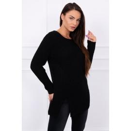 Ženski pleten pulover z režo na sprednji strani S7603, črn