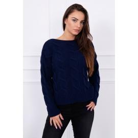 Ženski pulover z daljšim hrbtnim delom S7361, temno modra