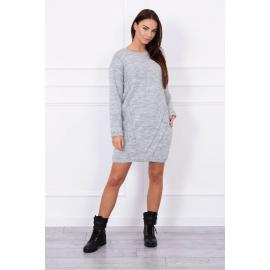 Ženski daljši pleten pulover S7614, siv