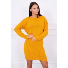 Ženski daljši pleten pulover S7614, gorčično rumen