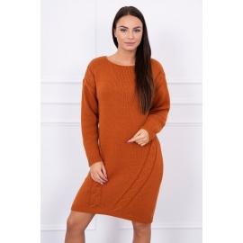 Ženski daljši pleten pulover S7614, rjav
