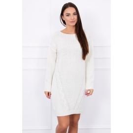 Ženski daljši pleten pulover S7614, ekru
