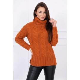 Ženski pleten pulover z visokim ovratnikom S8471, rjav