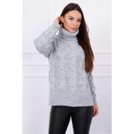Ženski pleten pulover z visokim ovratnikom S8471, siv