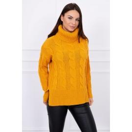Ženski pleten pulover z visokim ovratnikom S8471, gorčično rumen