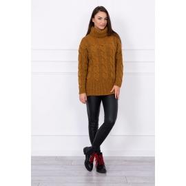 Ženski pleten pulover z visokim ovratnikom