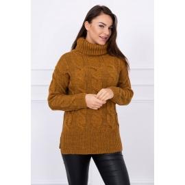 Ženski pleten pulover z visokim ovratnikom S8471, moro