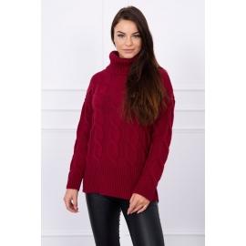 Ženski pleten pulover z visokim ovratnikom S8471, bordo