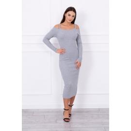 Dolga obleka z naramnicami 5075, siva