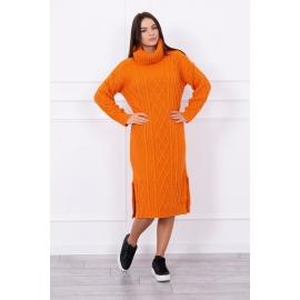 Ženska dolga pletena obleka z visokim ovratnikom S8481, oranžna