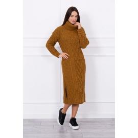 Ženska dolga pletena obleka z visokim ovratnikom S8481, moro