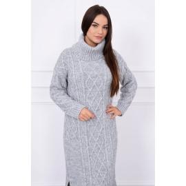 Ženska dolga pletena obleka z visokim ovratnikom