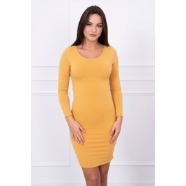 Obleka z golim hrbtom 5025, gorčično rumena