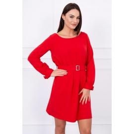 Obleka z žepi in vezavo v pasu 5078, rdeča