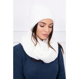 Ženska kapa in šal K113, bela