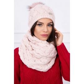Ženska kapa in šal K112, svetla puder roza