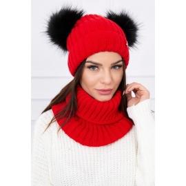 Ženska podložena kapa in šal K120, rdeča