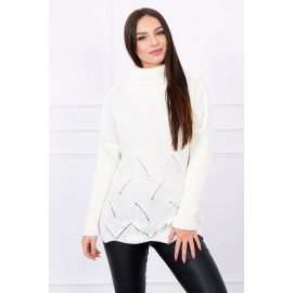 Pleten pulover z valovitim robom S5125, ekru