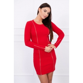 Obleka z dolgimi zadrgami 5063, rdeča