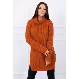 Ženski pleten pulover z režo na straneh S8281, temno oranžen