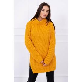 Ženski pleten pulover z režo na straneh S8281, gorčično rumen