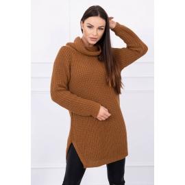 Ženski pleten pulover z režo na straneh S8281, rjav