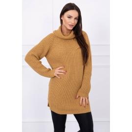 Ženski pleten pulover z režo na straneh S8281, kamelna