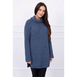 Ženski pleten pulover z režo na straneh S8281, jeans moder