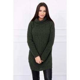 Ženski pleten pulover z režo na straneh S8281, kaki