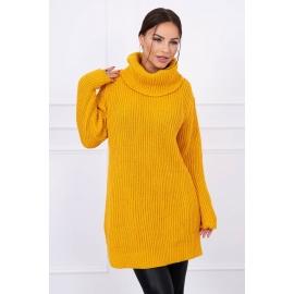 Ženski pleten puli S365, gorčično rumen