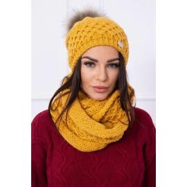 Ženska kapa in šal K119, gorčično rumena