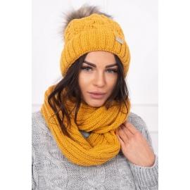Ženska podložena kapa in šal K117, gorčično rumena