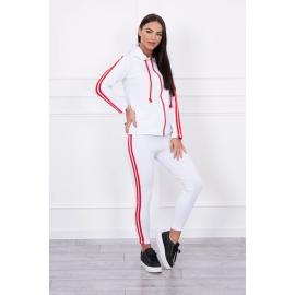 Ženska trenirka z dvema črtama, bela/rdeča