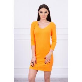 Modna obleka z dekoltejem 8863, neonsko oranžna