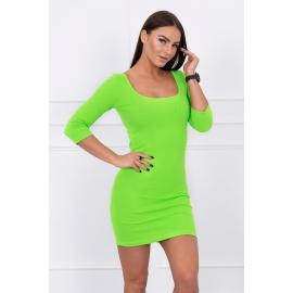 Obleka z dekoltejem in 3/4 rokavi 8973, neonsko zelena