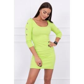 Obleka z okrasnimi obročki na rokavih 5324, svetlo zelena