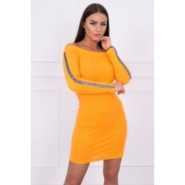 Obleka z bleščečim trakom na rokavih 5335, neonsko oranžna