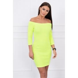 Rebrasta obleka z golimi rameni 8974, neonsko rumena