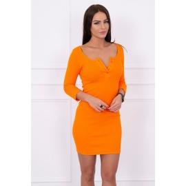Telirana obleka z gumbi na dekolteju 8972, oranžna
