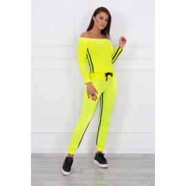 Ženski komplet z dvojno črto 8958, neonsko rumen