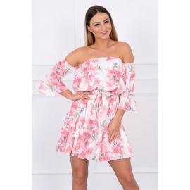 Ženska obleka s cvetličnim potiskom, puder roza