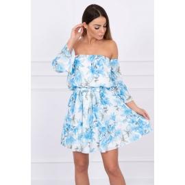 Ženska obleka s cvetličnim potiskom 5390, svetlo modra